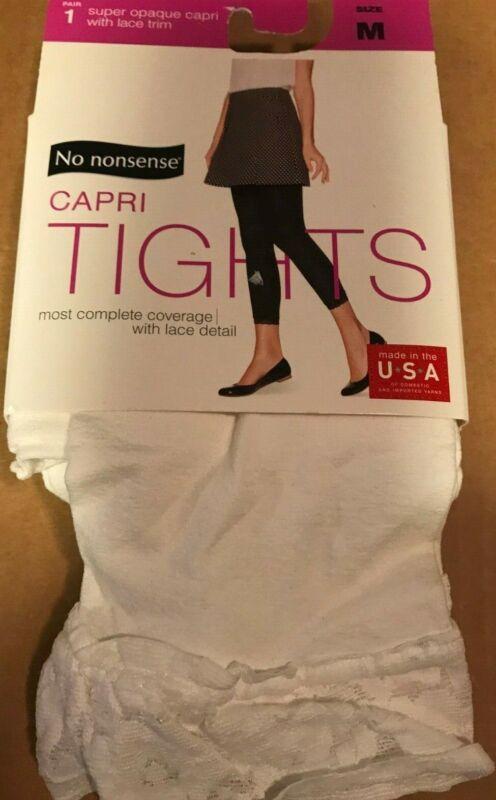 No Nonsense Capri Tights White Super Opaque With Lace Trim Size M Nip