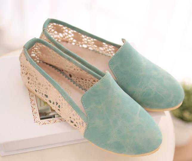 Bailarinas mocasines zapatos de de de mujer pan de la tierra azul encaje talón 1 cm  nueva marca