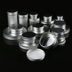 1-100Pcs-5-250g-Empty-Cosmetic-Jar-Bottle-Tin-Container-Box-Screw-Lid-Aluminium