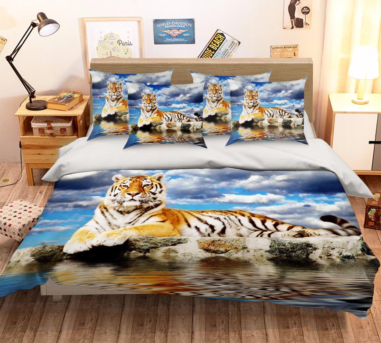 3D Seaside Tiger Bed Pillowcases Quilt Duvet Cover Set Single Queen King Size AU