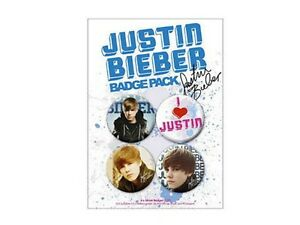 Blister-4-Badges-Justin-Bieber-Officiels-Justin-Bieber-official-badge-pack-new