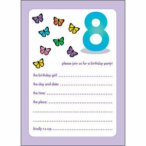 Details About 10 Childrens Birthday Party Invitations 8 Years Old Girl