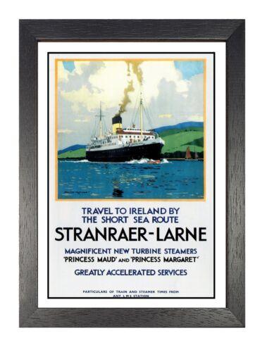 Stranraer Larne LMS Travel to Ireland Railway Print Vintage Old Advert Poster