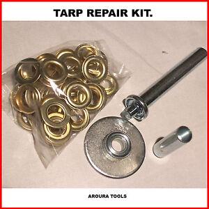 TARP-REPAIR-KIT-EYELET-FITTING-TOOL-amp-5O-PAIRS-OF-BRASS-PLATED-EYELETS-NEW