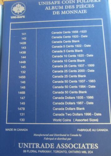 In UNI-Safe Blue Book Complete Set of Canada Half Dollars Coins 1968-2013