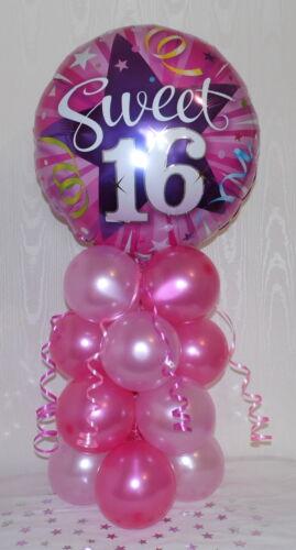 FOIL  BALLOON DISPLAY SWEET SIXTEEN TABLE CENTREPIECE 16TH  BIRTHDAY GIRL