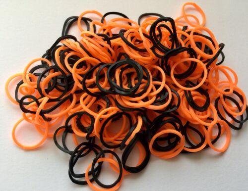 Loomastic Bandes 300 HALLOWEEN MIX LOOM BANDS//12 Clips//Crochet Noir Orange