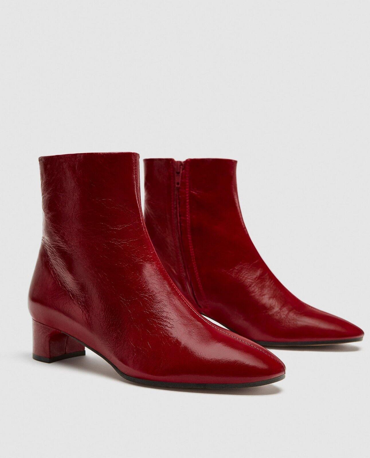 Nuevas botas al Tobillo Zara 100% Cuero, Cuero, Cuero, Rojo Nuevo botas, Bloque Talón tamaño 6.5 nos EU, 37  ventas en línea de venta