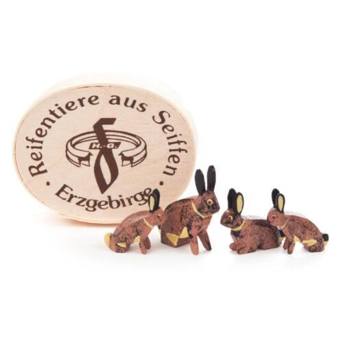 Hasenfamilie in Spandose NEU Erzgebirge Reifentiere Tiere Volkskunst Bauernhof