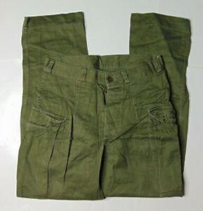 Klassische Herren 28 x 28 Kl Seyntex Niederländische Armee Knopfleiste Cargohose grün 70s