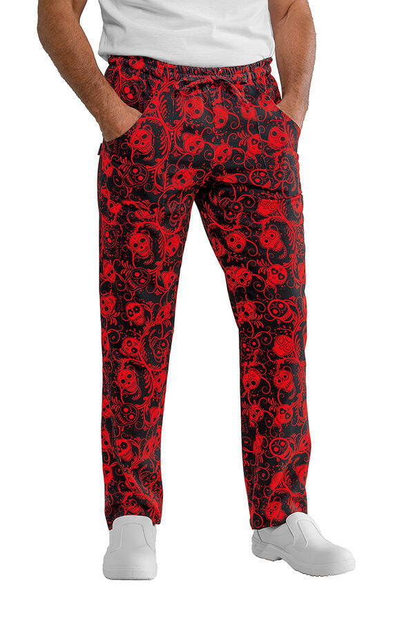 TROUSERS COOK CHEF SKULL 07 100% COTTON MADE IN ITALY ISACCO повар брюки 廚師褲