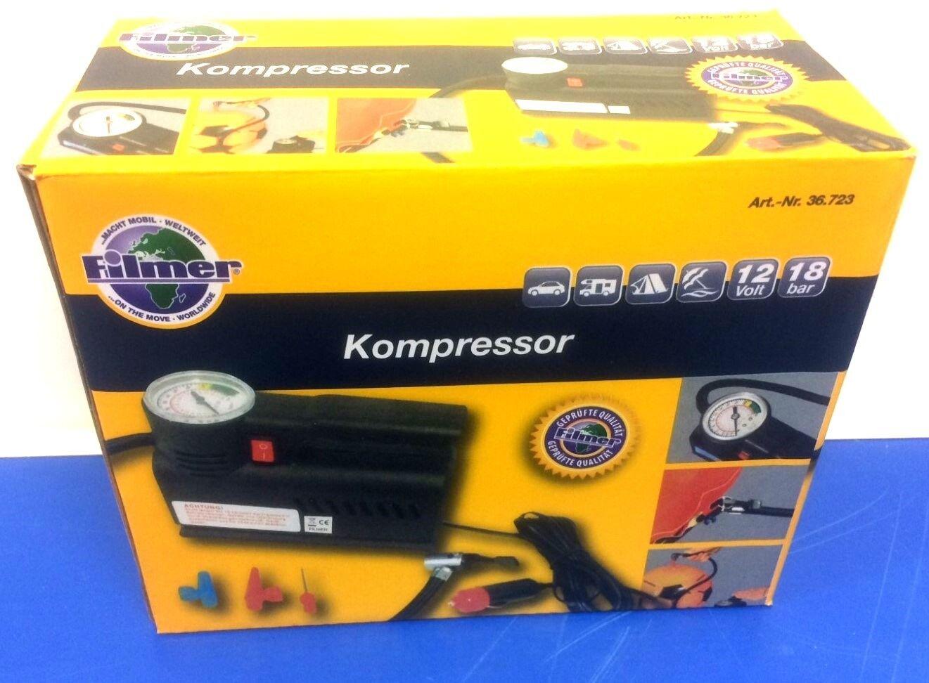 Filmer Kompressor mit Manometer Druckluftkompressor Auto Caravan Camping Sport