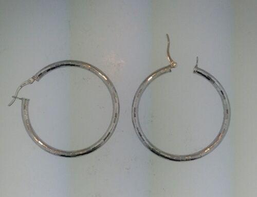 .925 Sterling Silver Diamond Cut 3mm Thick Block Design Hoop Earrings 40mm width