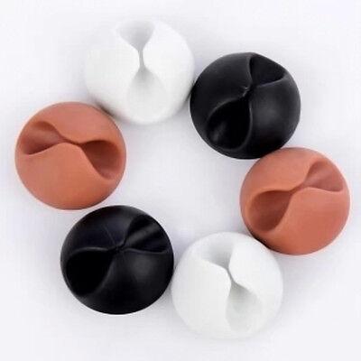 6×Wire Cord  Clips Ties Organizer Holder Line Fixer Black+White+Coffee