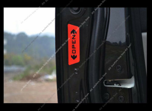 4pcs Red Car Accessories Door Opening Safety Warning o Stickers Reflective