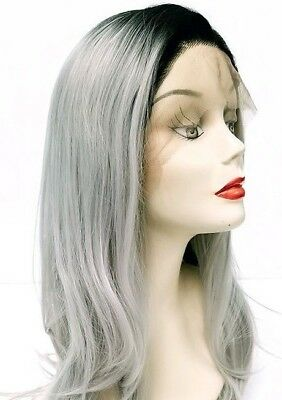Front Lace Free Part Pastel Black Ash Silver Grey Ombre Wig Adjustable Cap Strap