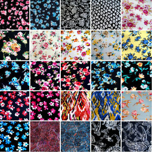Black//Red,Pink Ditsy Bunched Floral 100/% Viscose Summer Printed Dress Fabric.