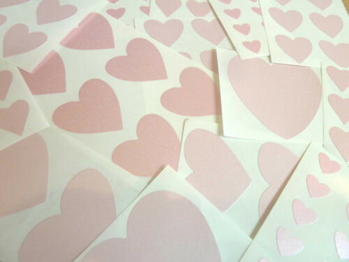 etiquetas corazones pegajoso Tamaño mezclado color rosa pálido pegatinas en forma de corazón