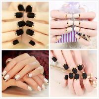 96 Pcs Short French False Nail Art Design Full Cover Gel Nails Acrylic Nails