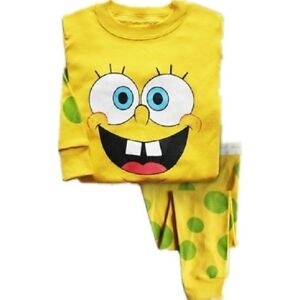 Kids boys SpongeBob pyjamas set 2Y-7Y cotton Long-sleeved pants sleepwear