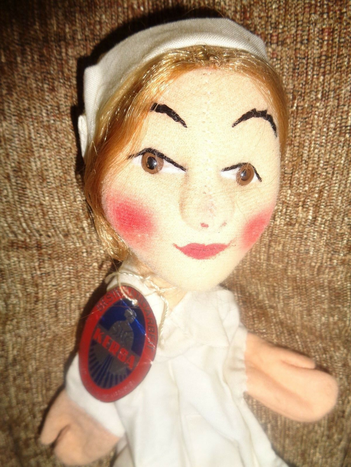 Vintage Kersa 1950's Medical White Nurse  294 German Hand Puppet NEW with TAGS