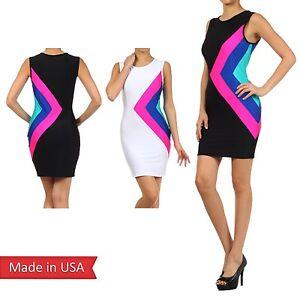 Women-Triangle-Neon-Colorblock-Disco-Club-Color-Sexy-Bodycon-Mini-Tank-Dress-USA