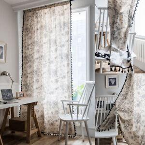 Flower Print Curtains For Living Room Tassel Cotton Linen Curtain Window Drapes