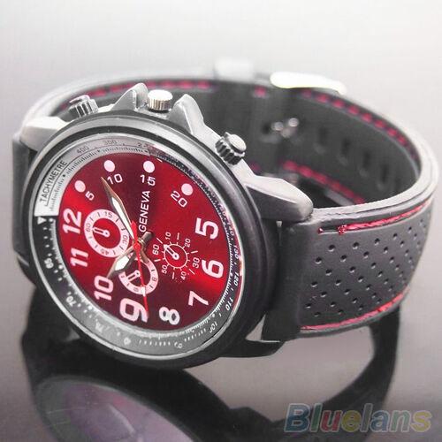 New Fashion Men's Geneva Red Dial Black Silicone Band Quartz Analog Wrist Watch