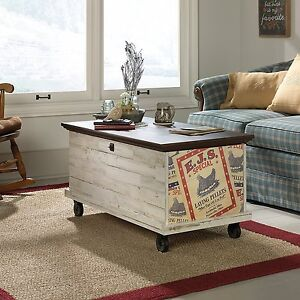 Details About Sauder 419590 Eden Rue Rolling Chest Trunk Coffee Table White Plank Finish New