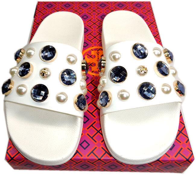 Tory Burch Logo Crystals Flip Flop Sandal Flat Vail Pearl Pool Slide Mules Sz 6