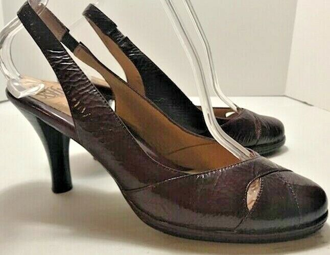 Sofft Dark Red Burgundy Patent Leather Sling Back Heels Size 9 M Gorgeous! NICE!