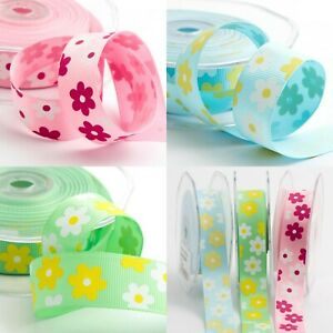 Daisy-Floral-Printed-22mm-Grosgrain-Craft-Ribbon-Spring-Easter-Colours