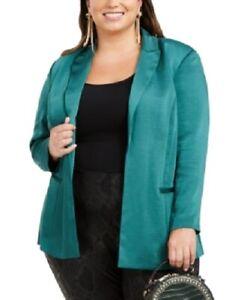 NwT Green $110 INC Women/'s 3x Plus Size Open-Front Satin Blazer Jacket