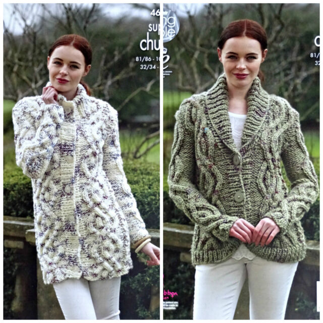 7c0959a35 KNITTING PATTERN Ladies Cable Coat and Jacket Super Chunky King Cole 4613