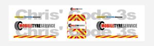 Mobile Tyre Service Code 3 Adhesive Vinyl Decal Suit Oxford Diecast 1//76 van