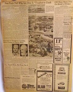 1945 Vintage Newspaper-New Facts on Iwo Jima-Lunatics-Execution-German-Rhine