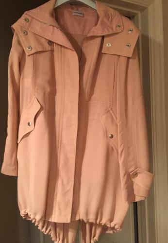 Alberta Ferretti Dusty pink Coat, Zips Front Long Sleeve and Hood Size 38