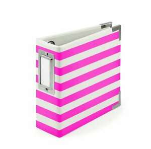 "American Crafts We R Memory Keepers Instagram Albums, 4 x 4"", Neon Pink Stripes"