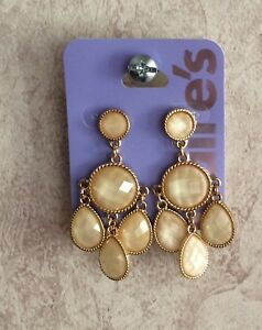 6b37e65f3b142 Details about Claire's Earrings Sensitive Solutions Pierced Stud Long  Dangle Style Gold Tone