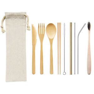 3-4-5-6-7-8-9Pcs-Dinnerware-Set-Bamboo-Cutlery-Wooden-Fork-Spoon-Straw-Chopst-EP
