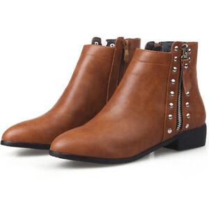 ce20a0deb9fb6 Women Plus Size Leather Rivets Point Toe Zip Block Heel Ankle Boots ...