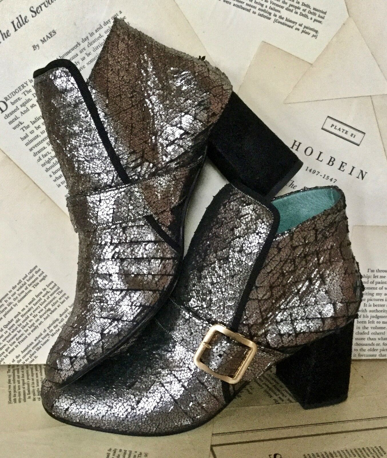NEW Anthropologie Paola Paola Paola D'arcano gunmetal Metallic Scaled Pelle Boot 37 / 6 f4c1b6