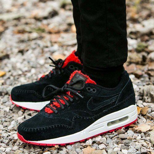 nike air max prime 1 prime max 454746 010 femmes sz 7,5 chaussure action fourrure rouge en daim no ir 5f4500