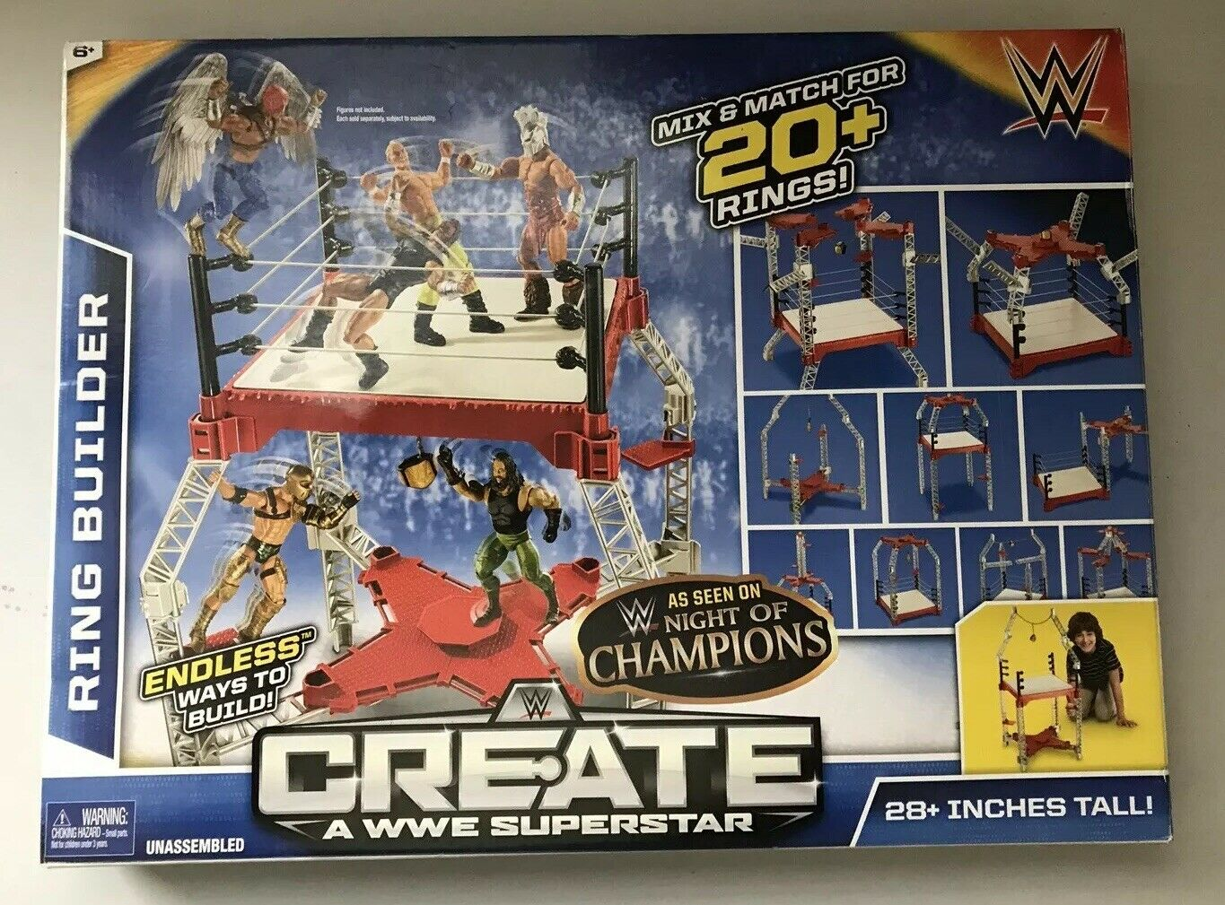 WWE Create A WWE Superestrella Ring Builder, Mix & Match 20 Rings  CMB52 nuovo