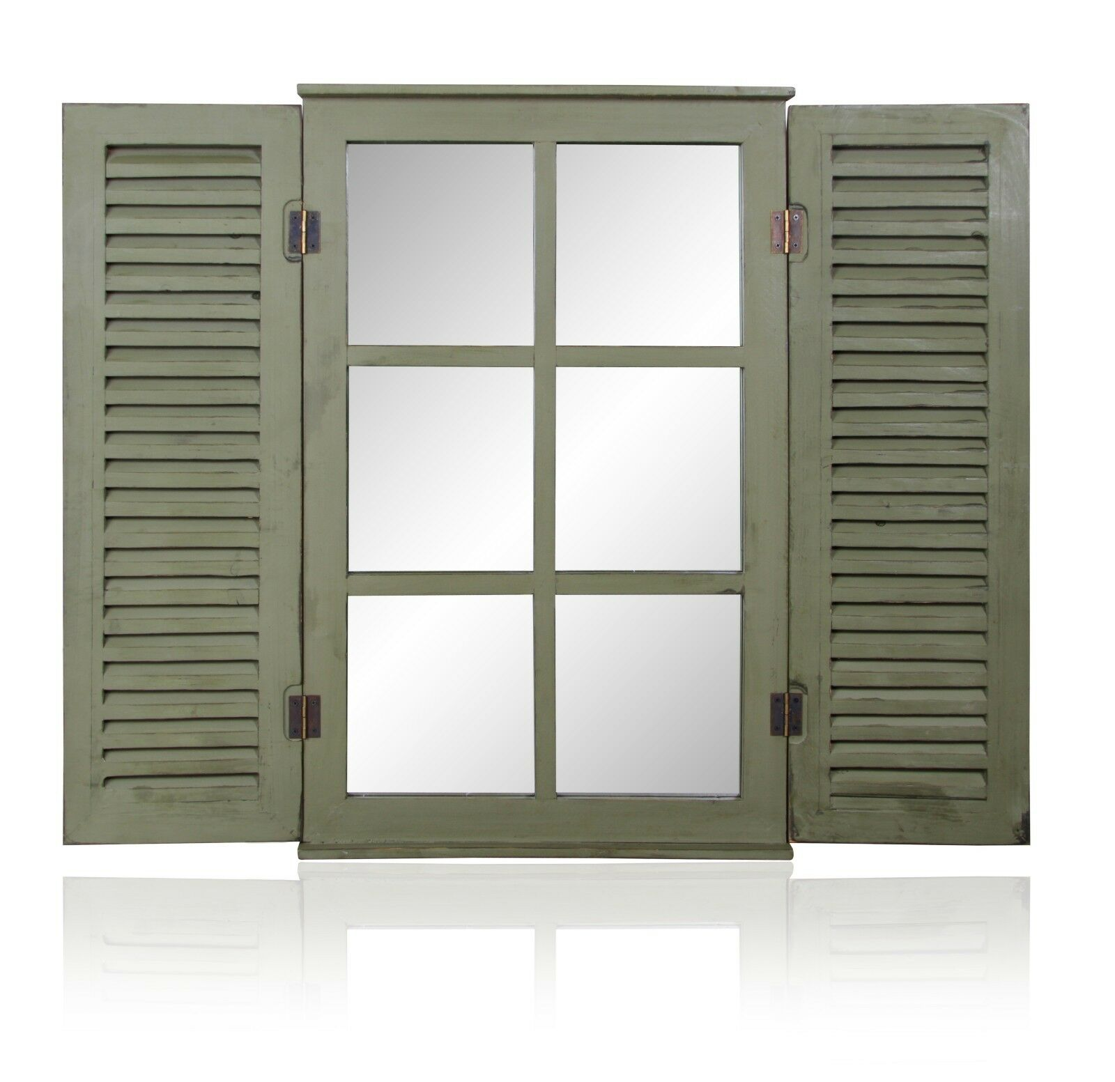 Green Garden Glass Mirror W Wooden Shutters Outdoor Illusion Window Antique