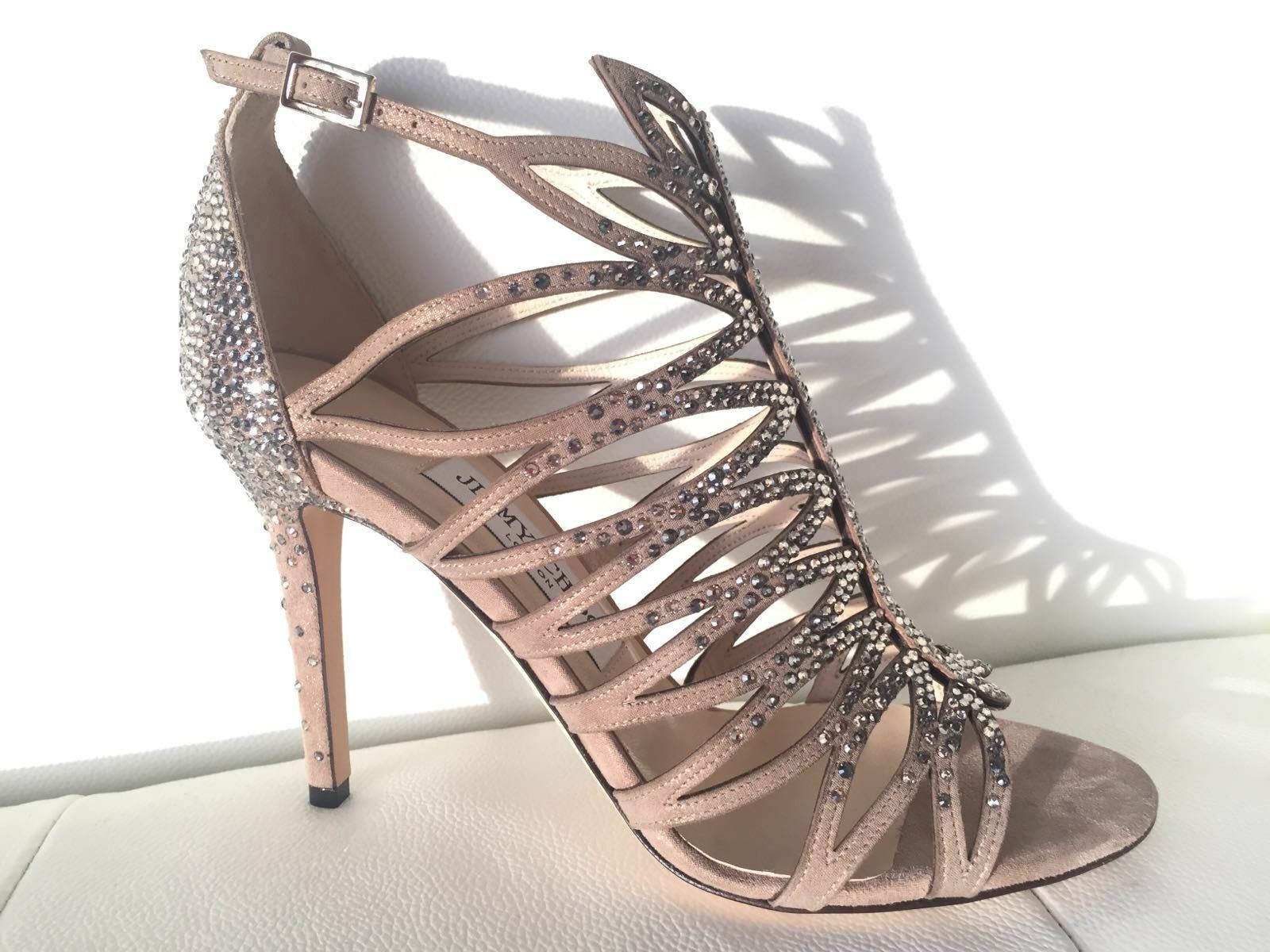 2350 JIMMY CHOO KAYE 100 BEIGE SUEDE LEATHER SANDALS W CRYSTALS SIZE 37 NIB