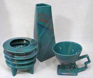 Vintage Studio Pottery Three Piece Vase, Planter, Cup Set Art Moderne Futuristic