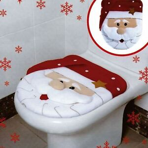 Image Is Loading Xmas Decoration Festive Santa Christmas Toilet Seat Cover