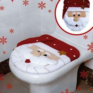 Image Is Loading Xmas Decoration Festive Santa Christmas Toilet Seat Cover