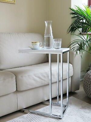 Bellini Wooden Top Sofa Side End Laptop Table White Glossy St38w - Slide Under Sofa Laptop Table